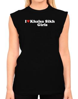 I Love Khalsa Sikh Girls T-Shirt - Sleeveless-Womens