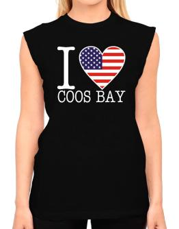 """ I love Coos Bay - American Flag "" T-Shirt - Sleeveless-Womens"