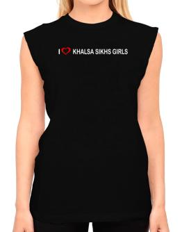 I love Khalsa Sikhs Girls T-Shirt - Sleeveless-Womens