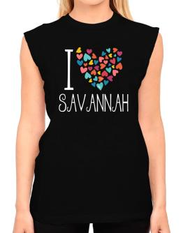 I love Savannah colorful hearts T-Shirt - Sleeveless-Womens