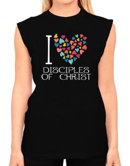 I love Disciples Of Christ colorful hearts T-Shirt - Sleeveless-Womens