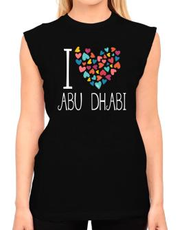 I love Abu Dhabi colorful hearts T-Shirt - Sleeveless-Womens