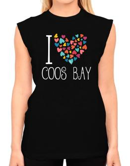 I love Coos Bay colorful hearts T-Shirt - Sleeveless-Womens