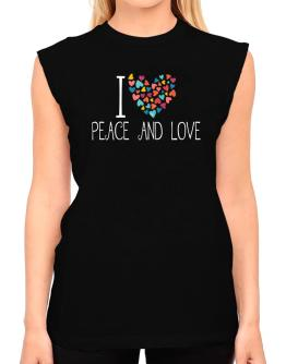 I love Peace And Love colorful hearts T-Shirt - Sleeveless-Womens