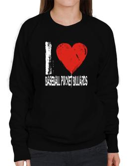 I Love Baseball Pocket Billiards Sweatshirt-Womens