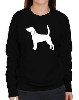 Beagle Silhouette Embroidery Sweatshirt-Womens