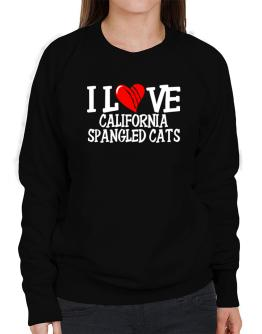 I Love California Spangled Cats - Scratched Heart Sweatshirt-Womens