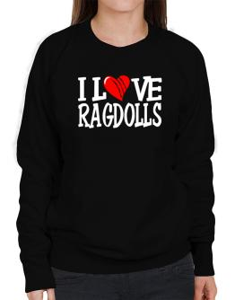I Love Ragdolls - Scratched Heart Sweatshirt-Womens