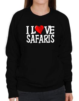 I Love Safaris - Scratched Heart Sweatshirt-Womens