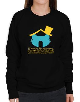 Home Is Where California Spangled Cat Is Sweatshirt-Womens