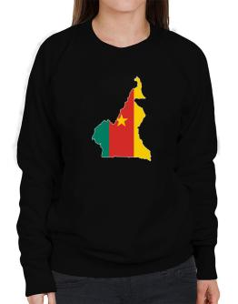 Cameroon - Country Map Color Simple Sweatshirt-Womens