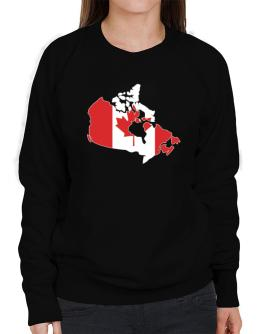 Canada - Country Map Color Simple Sweatshirt-Womens