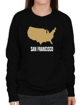 San Francisco - Usa Map Sweatshirt-Womens