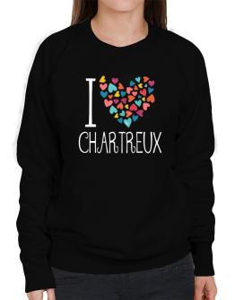 I love Chartreux colorful hearts Sweatshirt-Womens