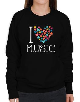 I love Music colorful hearts Sweatshirt-Womens