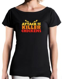 Attack Of The Killer Chickens T-Shirt - Boat-Neck-Womens
