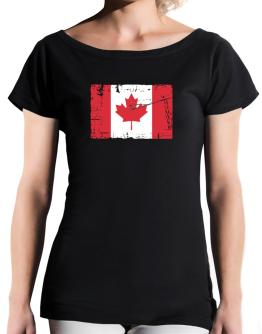 """ Canada - Vintage Flag "" T-Shirt - Boat-Neck-Womens"