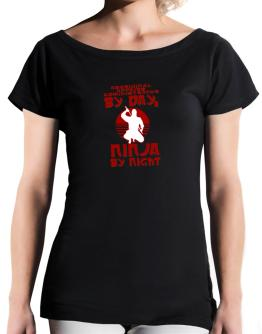 Aboriginal Affairs Administrator By Day, Ninja By Night T-Shirt - Boat-Neck-Womens