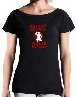 Dietitian By Day, Ninja By Night T-Shirt - Boat-Neck-Womens