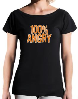 100% Angry T-Shirt - Boat-Neck-Womens