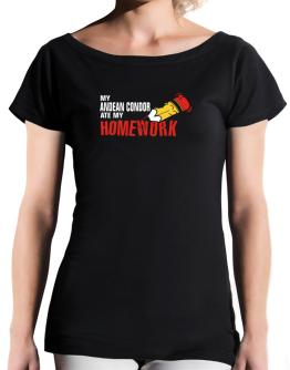My Andean Condor Ate My Homework T-Shirt - Boat-Neck-Womens