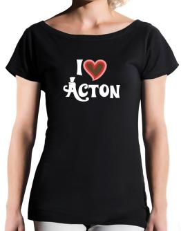 I Love Acton T-Shirt - Boat-Neck-Womens
