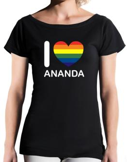 I Love Ananda - Rainbow Heart T-Shirt - Boat-Neck-Womens