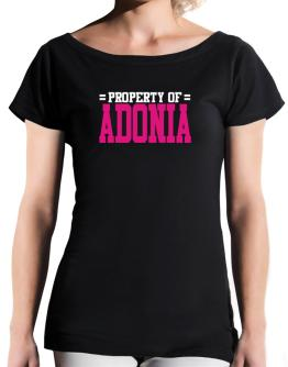 Property Of Adonia T-Shirt - Boat-Neck-Womens