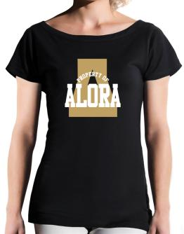 Property Of Alora T-Shirt - Boat-Neck-Womens