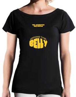 The Automotive Electrician Behind The Belly T-Shirt - Boat-Neck-Womens