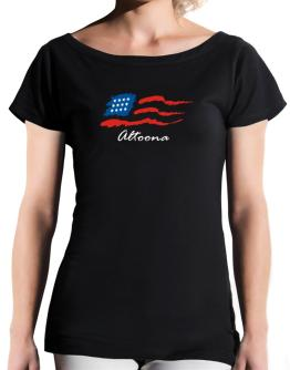 Altoona - Us Flag T-Shirt - Boat-Neck-Womens