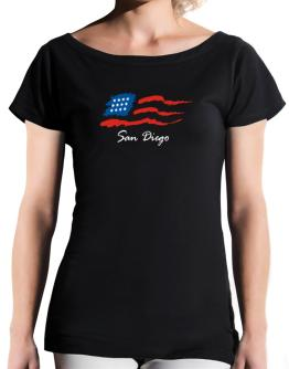 San Diego - Us Flag T-Shirt - Boat-Neck-Womens