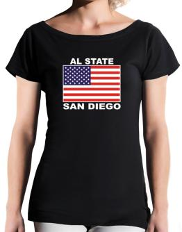 """ San Diego - US Flag "" T-Shirt - Boat-Neck-Womens"