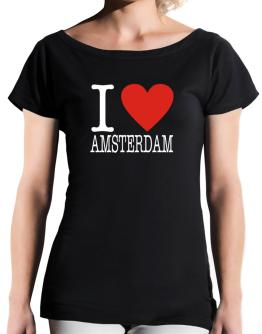 I Love Amsterdam Classic T-Shirt - Boat-Neck-Womens