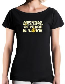 Amsterdam World Capital Of Peace And Love T-Shirt - Boat-Neck-Womens