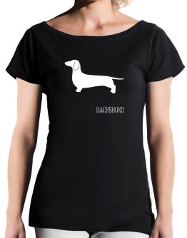Dachshund Stencil / Chees T-Shirt - Boat-Neck-Womens