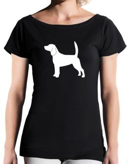 Beagle Silhouette Embroidery T-Shirt - Boat-Neck-Womens