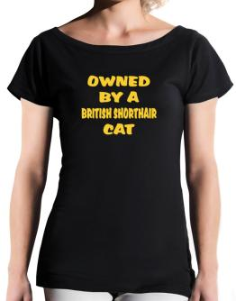Owned By S British Shorthair T-Shirt - Boat-Neck-Womens