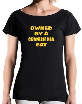 Owned By S Cornish Rex T-Shirt - Boat-Neck-Womens