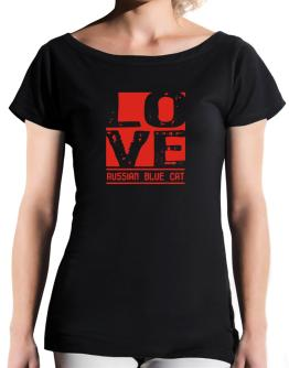 Love Russian Blue T-Shirt - Boat-Neck-Womens
