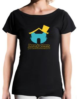 Home Is Where American Shorthair Is T-Shirt - Boat-Neck-Womens