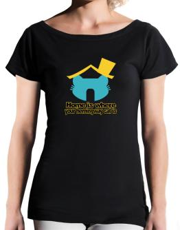 Home Is Where Hemingway Cat Is T-Shirt - Boat-Neck-Womens