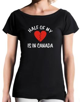 Half Of My Heart Is In Canada T-Shirt - Boat-Neck-Womens