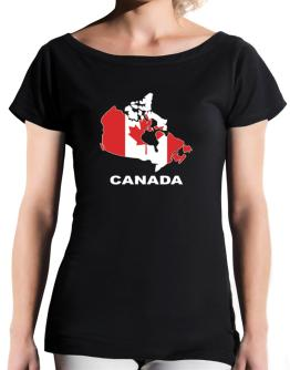 Canada - Country Map Color T-Shirt - Boat-Neck-Womens