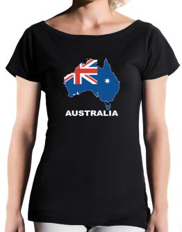Australia - Country Map Color T-Shirt - Boat-Neck-Womens