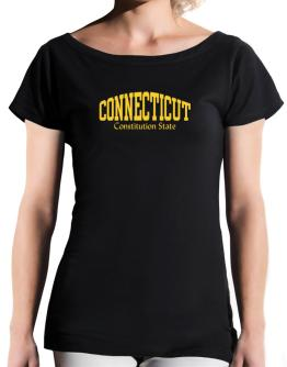 State Nickname Connecticut T-Shirt - Boat-Neck-Womens
