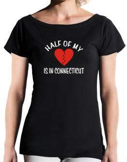 Half Of My Connecticut T-Shirt - Boat-Neck-Womens