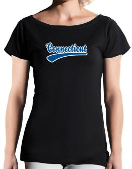 Retro Connecticut T-Shirt - Boat-Neck-Womens