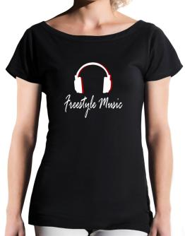Freestyle Music - Headphones T-Shirt - Boat-Neck-Womens