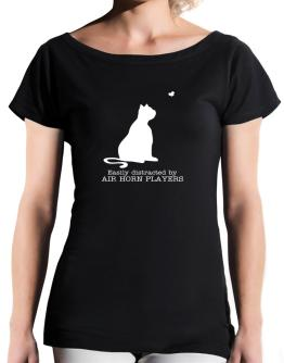 Easily Distracted By Air Horn Players T-Shirt - Boat-Neck-Womens
